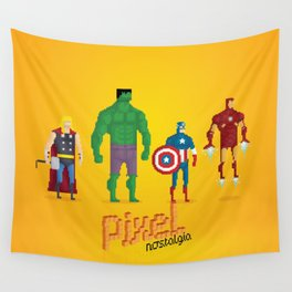Super Heroes - Pixel Nostalgia Wall Tapestry