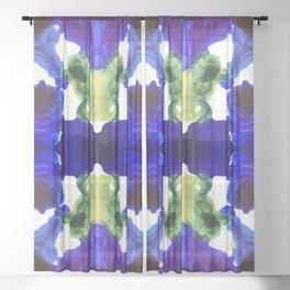 Blue Green Mystical Inky Fluid Pattern - White Base Sheer Curtain
