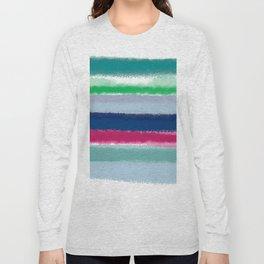 Bluish Blues 2 - Blues, Aqua, Greens, and Pinks, Stripes on White Long Sleeve T-shirt