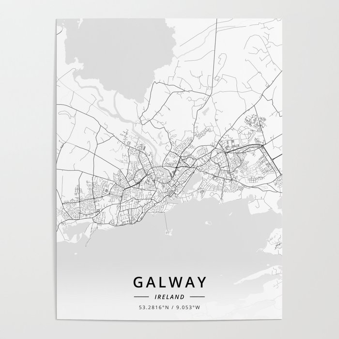 Galway On Map Of Ireland.Galway Ireland Light Map Poster By Designermapart