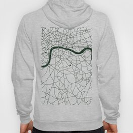 London White on Green Street Map Hoody