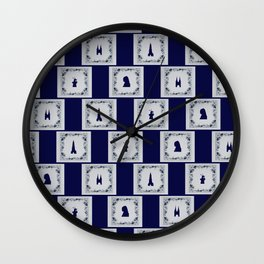 Collage Delft blue tiles Wall Clock