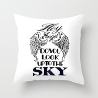larry stylinson Throw Pillows featuring Hey Angel (Larry Stylinson) by Arabella