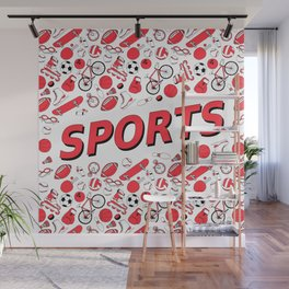 I Love Sports (red pattern) Wall Mural