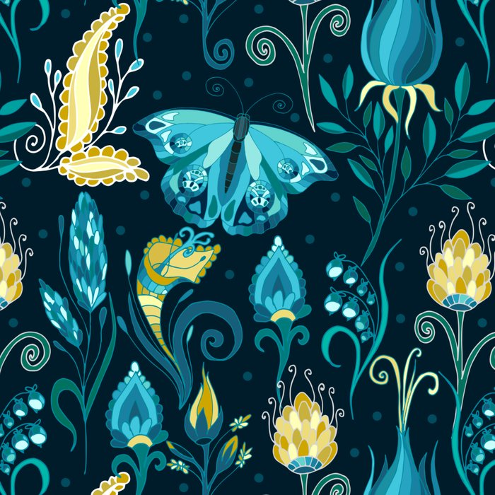 Floral blue pattern with butterfly Leggings