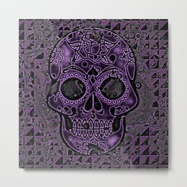 Skull, purple Metal Print