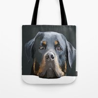 rottweiler Tote Bags featuring Rottweiler Portrait Vector by taiche