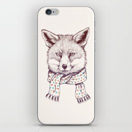 Fox and scarf iPhone Skin