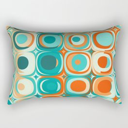 Orange and Turquoise Dots Rectangular Pillow