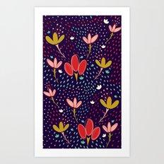 Vintage Ditsy Floral Art Print