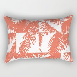 Palm Leaf Pattern Orange Rectangular Pillow