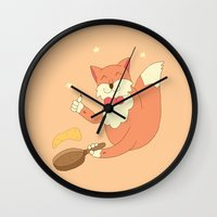 cook Wall Clocks featuring cook pancakes by 1ena
