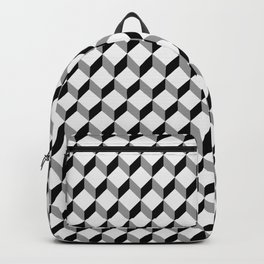 3d cube pattern - geometric black and white cubic design Backpack