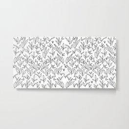 floral leaves grid pattern 4 - B&W version Metal Print