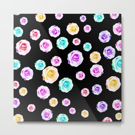 colorful roses in pink purple green yellow with black background Metal Print