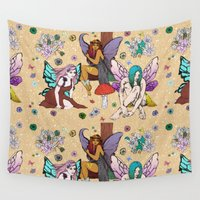 fairies Wall Tapestries featuring The 3 Fairies by minniemorrisart