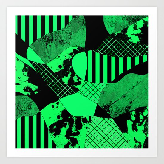 Black And Teal - Abstract, geometric, multi patterned artwork Art Print