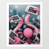 Art Print featuring Octo-selfie by Azbeen