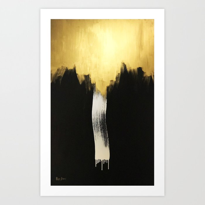 Gold Abstract Art Wall Decor Acrylic Painting Oil Canvas Print By Ronderi