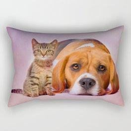 Beagle dog and kitten digital art Rectangular Pillow