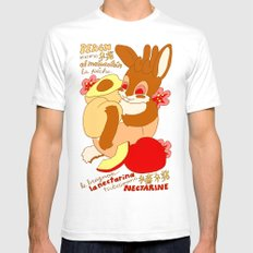 Jackalope and Peach SMALL Mens Fitted Tee White