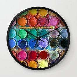 watercolor palette Digital painting Wall Clock