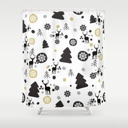 Deer Snow Rustic Winter Christmas Shower Curtain