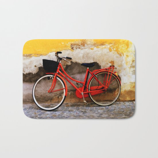 The Red Bicycle Bath Mat