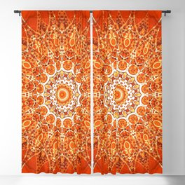 Detailed Orange Boho Mandala Blackout Curtain