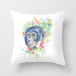 Watercolor Chimpanzee Floral Animal Throw Pillow