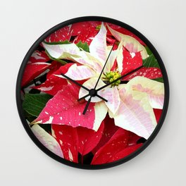 Red and White Poinsettia Wall Clock