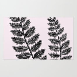 Black Lace Fern Blush Pink Rug
