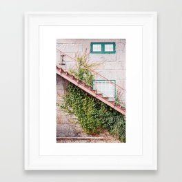 Stone House with Ivy Wall Framed Art Print