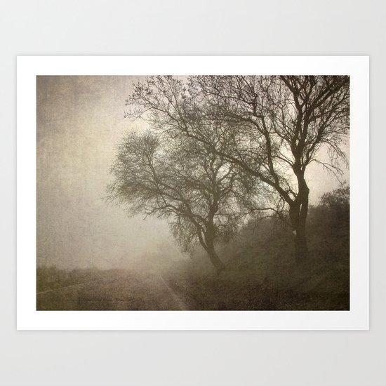 Vigilants Trees in the misty road Art Print