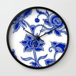 Vintage Floral Sapphire Blue and White Wall Clock
