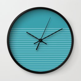 White line in turquoise Wall Clock