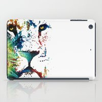 nfl iPad Cases featuring Colorful Lion Art By Sharon Cummings by Sharon Cummings