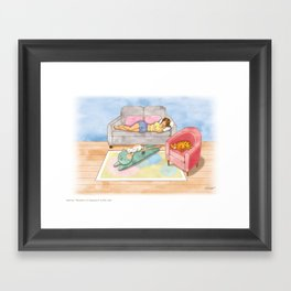 Naptime, moment of happiness. Framed Art Print