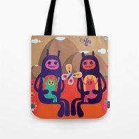 aliens Tote Bags featuring Aliens by MilkSilk