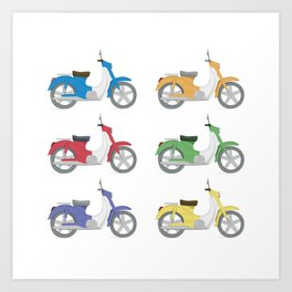 Set of colorful bikes Art Print