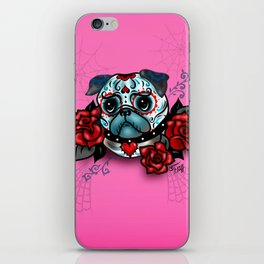 Sugar Skull Pug with Roses on Hot Pink iPhone Skin
