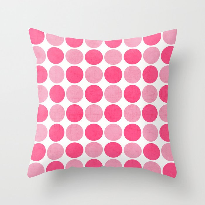 the pink dots Throw Pillow