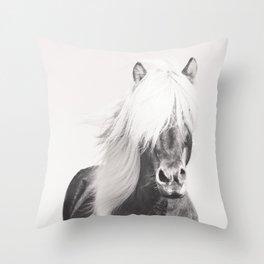 BW Horse, Horse Art, Black and White, Nordic Horse, Horse Print, Boho Decor, Horse Photo Throw Pillow