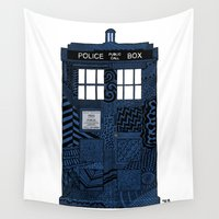 tardis Wall Tapestries featuring Tardis by Rebecca Bear