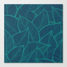 Blue Green Leaves Canvas Print
