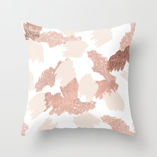 Blush Rose Throw Pillows : Modern rose gold faux glitter brushstrokes blush pink Throw Pillow by Girly Trend Society6