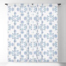 Delft blue romantic floral watercolor pattern in classic blue Blackout Curtain