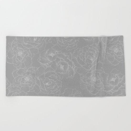 Peony Flower Pattern II Beach Towel