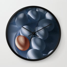 Orange Egg among the Blues Wall Clock