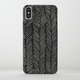 Herringbone Cream on Black iPhone Case